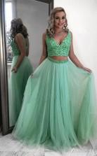 Two Piece Mint Green Chiffon Beading Long Prom Evening Dress  JTA0361