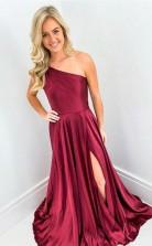 Elegant Wine Red One Shoulder Long Prom Formal Dress with Split  JTA0371