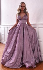 Purple Spaghetti Straps Sleeveless Prom Evening Dress with Pockets  JTA0421