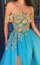Off Shoulder Blue Lace Tulle Prom Dress Long Formal Dress  JTA0441