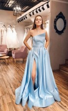Straps Satin Light Blue Slit A Line Simple Prom Dress With Pocktets JTA0501