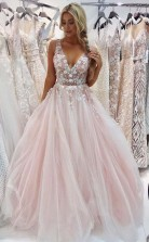 A Line V Neck Floor-Length Pink Prom Dress with Appliques Beading JTA0531