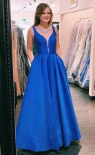 A Line V neck Blue Satin Long Prom Formal Dress with Pockets JTA0551