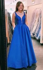 A Line V neck Blue Satin Long Prom Formal Dress with Pockets JTA0551