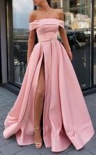 A Line Off the Shoulder Satin Pink High Split Prom Dress Formal Dress JTA0571