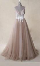 Straps Appliques Tulle A Line V Neck Long Prom Dress Dusty Rose  JTA0581