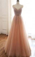 A Line Lace Up Back Straps Evening Dress Tulle Sequins Prom Dress  JTA0591
