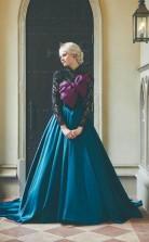 Elegant Frozen A Line Lace Long sleeves Satin Prom Dress Formal Dress  JTA0601