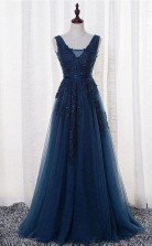 A Line V Neck Floor length Tulle Prom Evening Dress With Appliques JTA0691