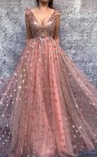 Chic A Line V neck Prom Dress Pink Long Prom Formal Dress JTA0711