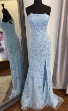 Mermaid Strapless Sky Blue Split Prom Formal Dress With Lace JTA0751