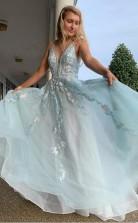 A Line Spaghetti Straps Light Blue Prom Dress With Beading Appliques JTA0761
