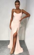 Mermaid Spaghetti Straps Floor-Length Pearl Pink Prom Dress with Split JTA0771