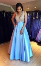 Modest V Neck Sleeveless Floor-Length Blue Prom Dress with Beading JTA0811