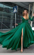 A Line V Neck Long Sleeves Dark Green Prom Formal Dress With Split JTA0821
