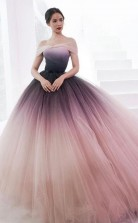 Princess Ombre Ball Gown Tulle Off-Shoulder Prom Dress Formal Dress  JTA0901