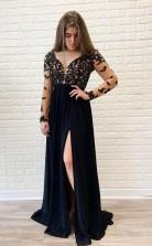 Illusion Long Sleeve Black Applqiues A Line Elegant Prom Formal Dress  JTA0921