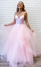 Pink Tulle Ruffles Spaghetti Straps Simple Long Prom Formal Dress  JTA0931