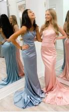 SheathColumn Satin Scoop Spaghetti Straps Long Prom Formal Dress  JTA0941
