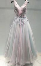 Ombre Beautiful Prom Dress A Line V Neck Tulle Evening Dress  JTA0961