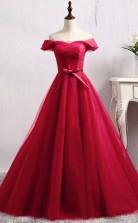 A Line Off-the-Shoulder Floor-Length Dark Red Tulle Prom Dress  JTA0971