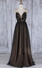 A Line Deep V Neck Sweep Train Black Tulle Backless Prom Dress  JTA0981
