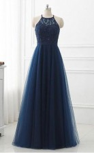 Navy Blue  Lace High Neck Tulle Long Prom Formal Dress  JTA1001