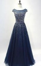 Navy Blue Round Neck Tulle Sequins Full Length Prom Dress  JTA1011