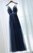 A Line V Neck Floor-Length Navy Blue Tulle Prom Dress with Appliques  JTA1021
