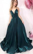 Simple Dark Green Satin Long V Neck Prom Dress  Evening Dress  JTA1051