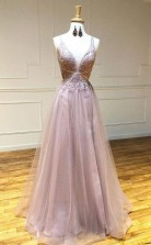 Sexy Deep V Neck Appliques A Line Tulle Pink Long Prom Dress  JTA1081