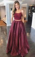 Two Piece A Line Burgundy Satin Lace Top Spaghetti Straps Prom Dress  JTA1091