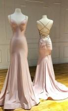 Mermaid Prom Dress Pink Satin Criss Cross Long Evening Gowns  JTA1111