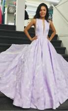 A Line Bateau Sleeveless Sweep Train Lilac Floral Satin Prom Formal Dress JTA1131