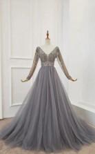 Elegant Long Sleeves Gray Tulle Prom Formal Dress With Beading JTA1191
