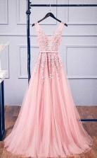 A Line V Neck Pink Tulle Lace Applique Long Prom Formal Dress JTA1271