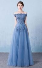 Elegant Tulle Lace Applique Long Prom Dress Blue Evening Dress JTA1281