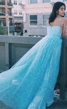Elegant A Line Straps Light Blue Long Prom Dress with Stars JTA1291