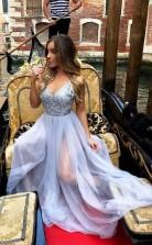 A Line V Neck Floor Length Prom Formal Dress with Sequins JTA1311