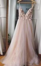 A Line V Neck 3D Flower Eleagnt Tulle Long Prom Dress JTA1361