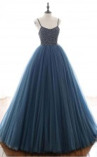 Ball Gown Deep Blue Tulle Prom Formal Dress With Beading JTA1431