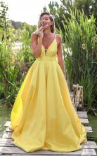 A Line Deep V Neck Backless Sweep Train Yellow Prom Dress JTA1441