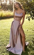 Simple Spaghetti Long Side Split Prom Evening Dress  JTA1461