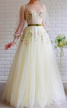 A Line Bateau Illusion Long Sleeves Tulle Prom Dress With Embroidery JTA1481