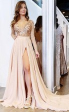 A Line V neck Long Sleeves Light Champagne Prom Dress With Appliques JTA1491