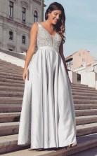 Elegant V Neck Beading Prom Dress Grey Satin Sleeveless Evening Dress JTA1501