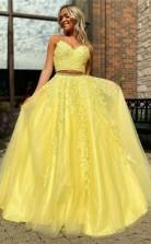 Elegant Straps Two Piece Yellow Long Lace Prom Formal Dress JTA1531