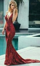 Sexy Backless V neck Mermaid Sequin Long Evening Prom Dress JTA1541