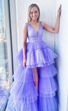 V Neck Lilac High Low Tulle Prom Dress Formal Evening  Dress JTA1551