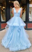A Line V Neck Floor Length Black Prom Formal Dress With Appliques JTA1561